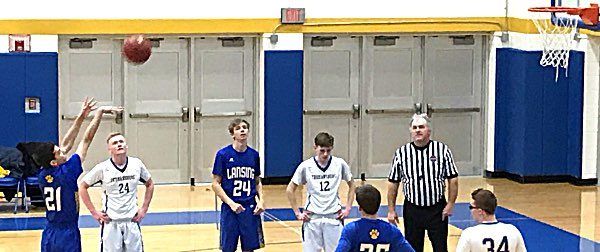 basketball Waldman at the line against Tburg