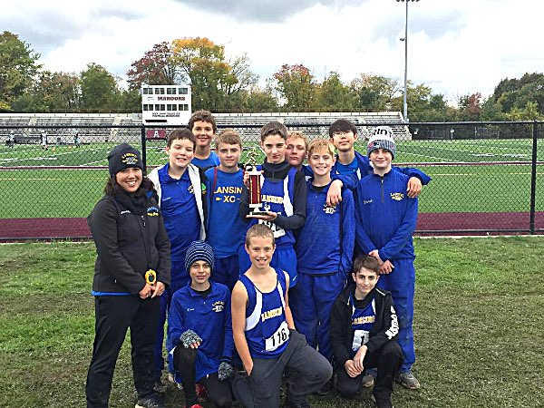 xc Lansing modified boys with 3rd place trophy at Auburn Invitational